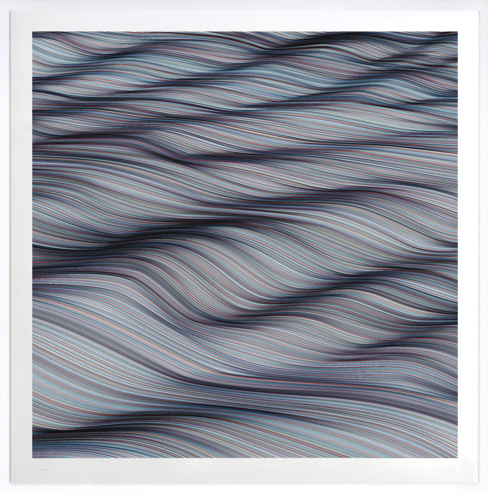 """Endless Wave"" by Kai and Sunny.  100 x 100cm 6-color Screenprint.  Ed of 40 S/N.  £350 ($445)"