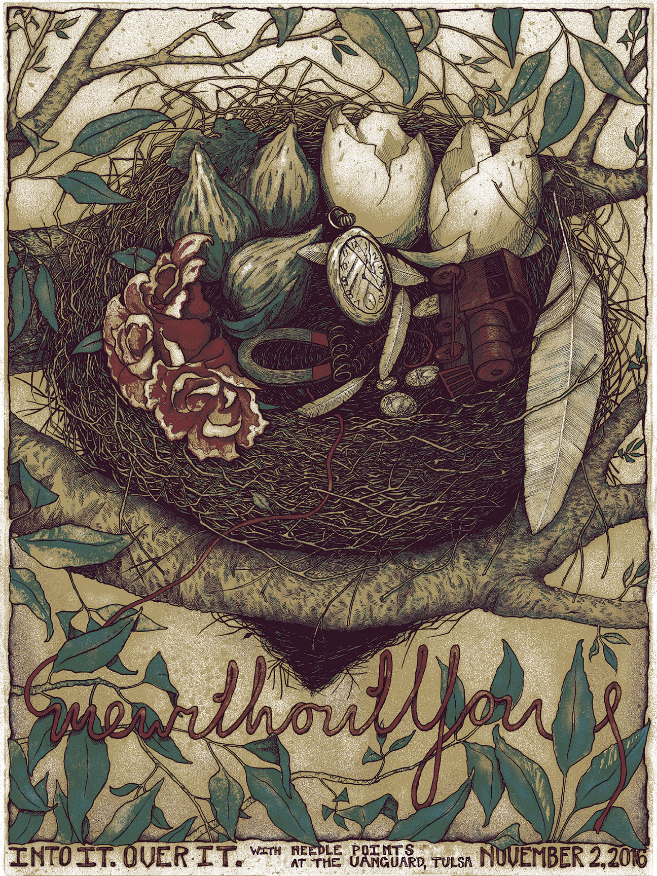 """mewithoutYou - Tulsa, OK"" by Bjorn Bauer.  18"" x 24"" 4-color Screenprint.  Ed of 80 S/N.  $25"
