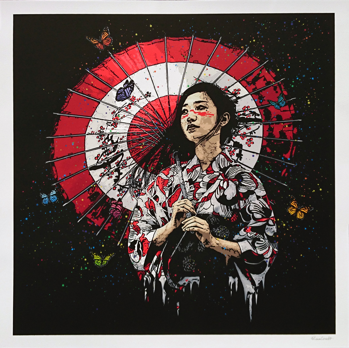 """Nadeshiko"" by Roamcouch.  25"" x 25"" 40-color Screenprint.  Ed of 95 S/N.  $300"