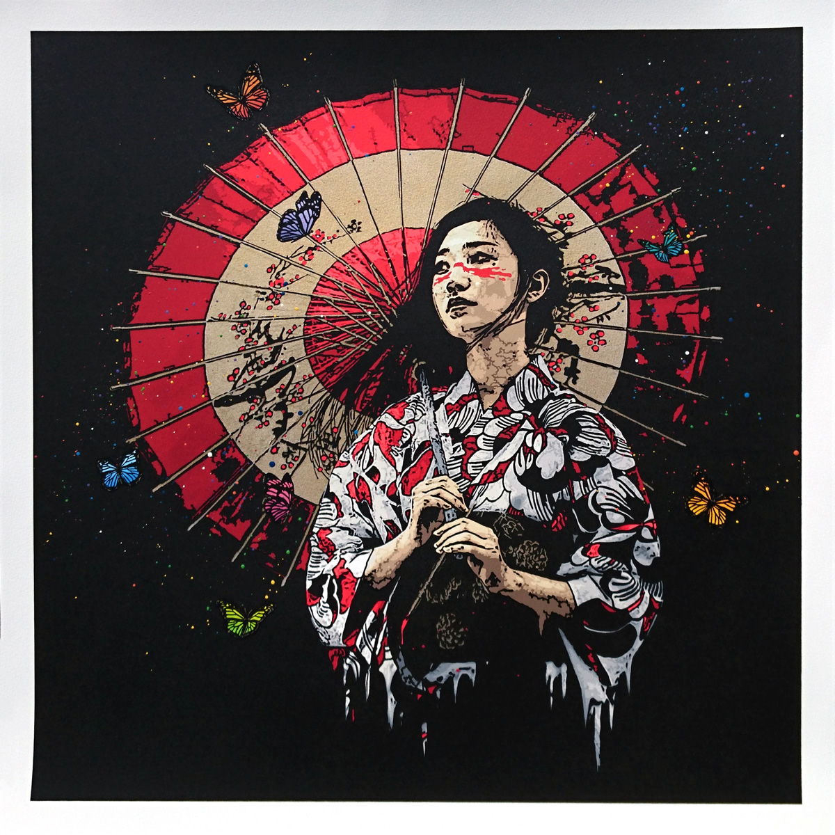 """Nadeshiko"" by Roamcouch.  25"" x 25"" 40-color Screenprint, hand-finished.  Ed of 5 S/N.  $500 (Gold)"