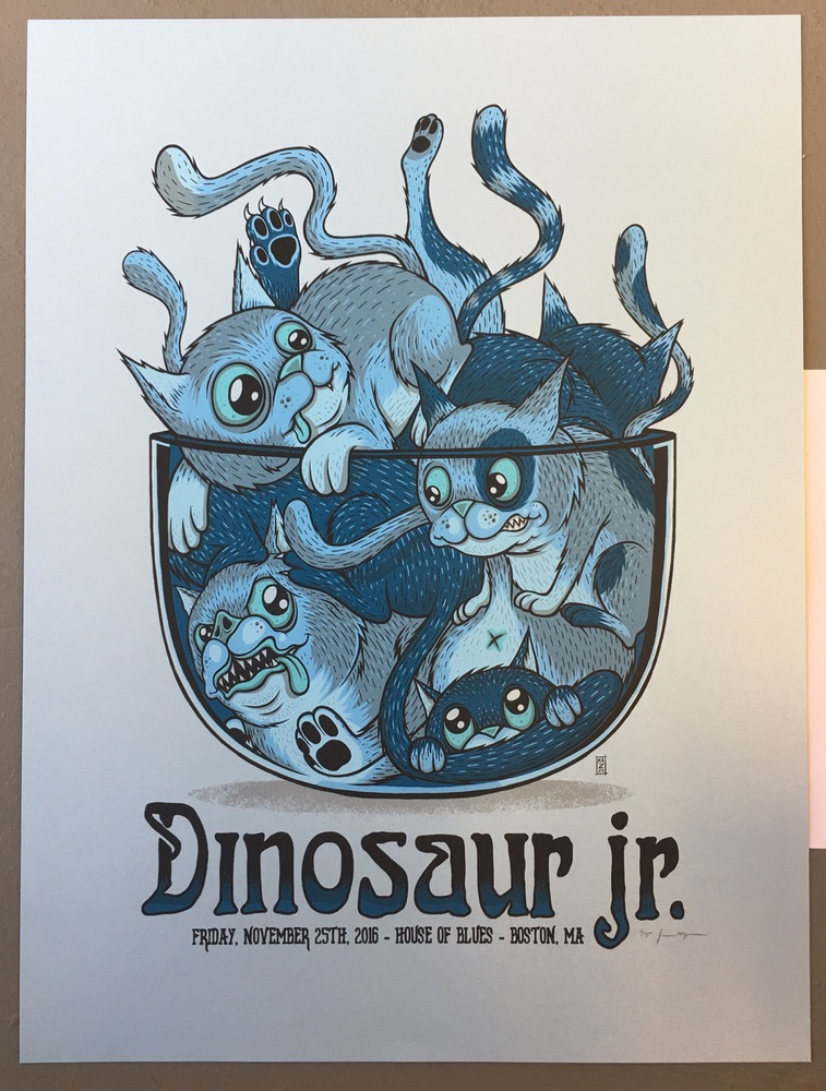 """Dinosaur Jr. - Boston, MA 2016"" by Jim Mazza.  18"" x 24"" 6-color Screenprint.  Ed of 5 S/N.  $100 (Pearlescent Paper variant)"
