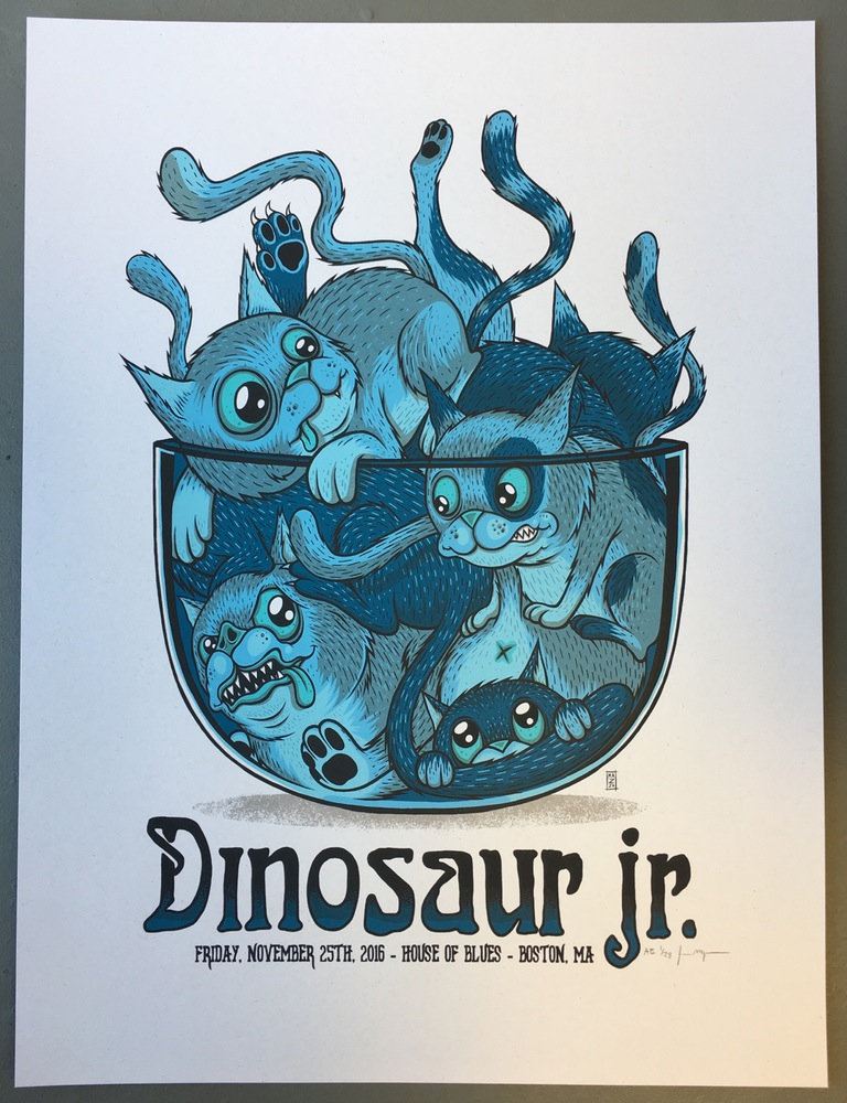 """Dinosaur Jr. - Boston, MA 2016"" by Jim Mazza.  18"" x 24"" 6-color Screenprint.  Artist edition of 28 S/N.  $35"
