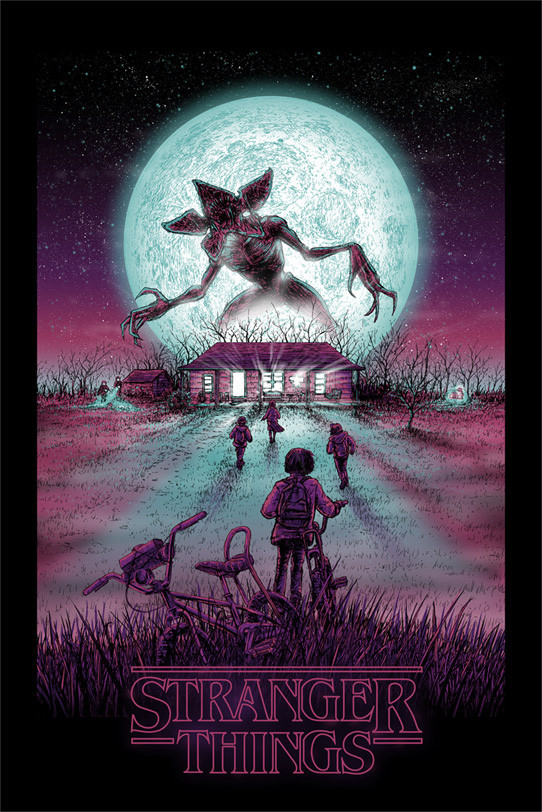 """Stranger Things"" by Barry Blankenship.  24"" x 36"" Lithograph w/ GID layer.  Ed of 295 N.  $45"