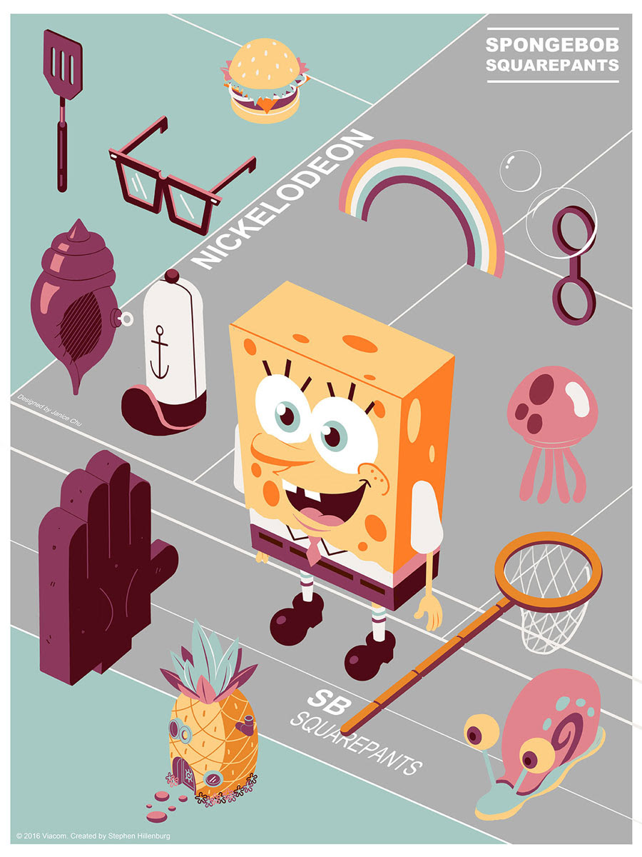 "SpongeBob SquarePants (V1) by Janice Chu. 18""x24"" screen print. Hand numbered. Edition of 100. Printed by D&L Screenprinting. $40"