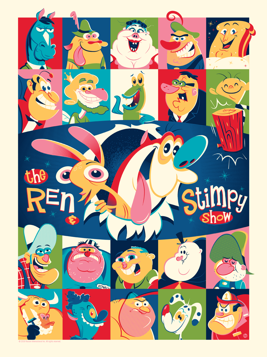 "The Ren and Stimpy Show by Dave Perillo. 18""x24"" screen print. Hand numbered. Edition of 175. Printed by D&L Screenprinting. $40"