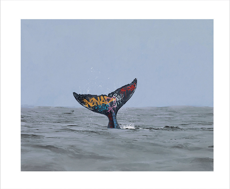 """Descent"" by Josh Keyes.  10"" x 12"" Giclee.  Timed edition S/N.  $45"