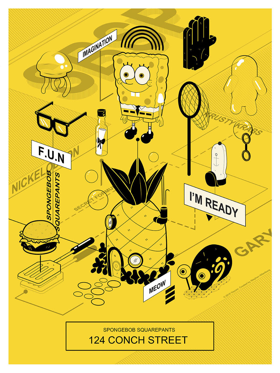 "SpongeBob SquarePants (V2) by Janice Chu. 18""x24"" screen print. Hand numbered. Edition of 100. Printed by D&L Screenprinting. $40"