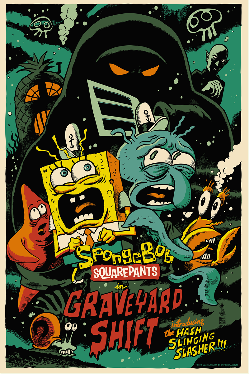 "SpongeBob SquarePants in ""Graveyard Shift"" by Francesco Francavilla. 24""x36"" screen print. Hand numbered. Edition of 225. Printed by D&L Screenprinting. $45"
