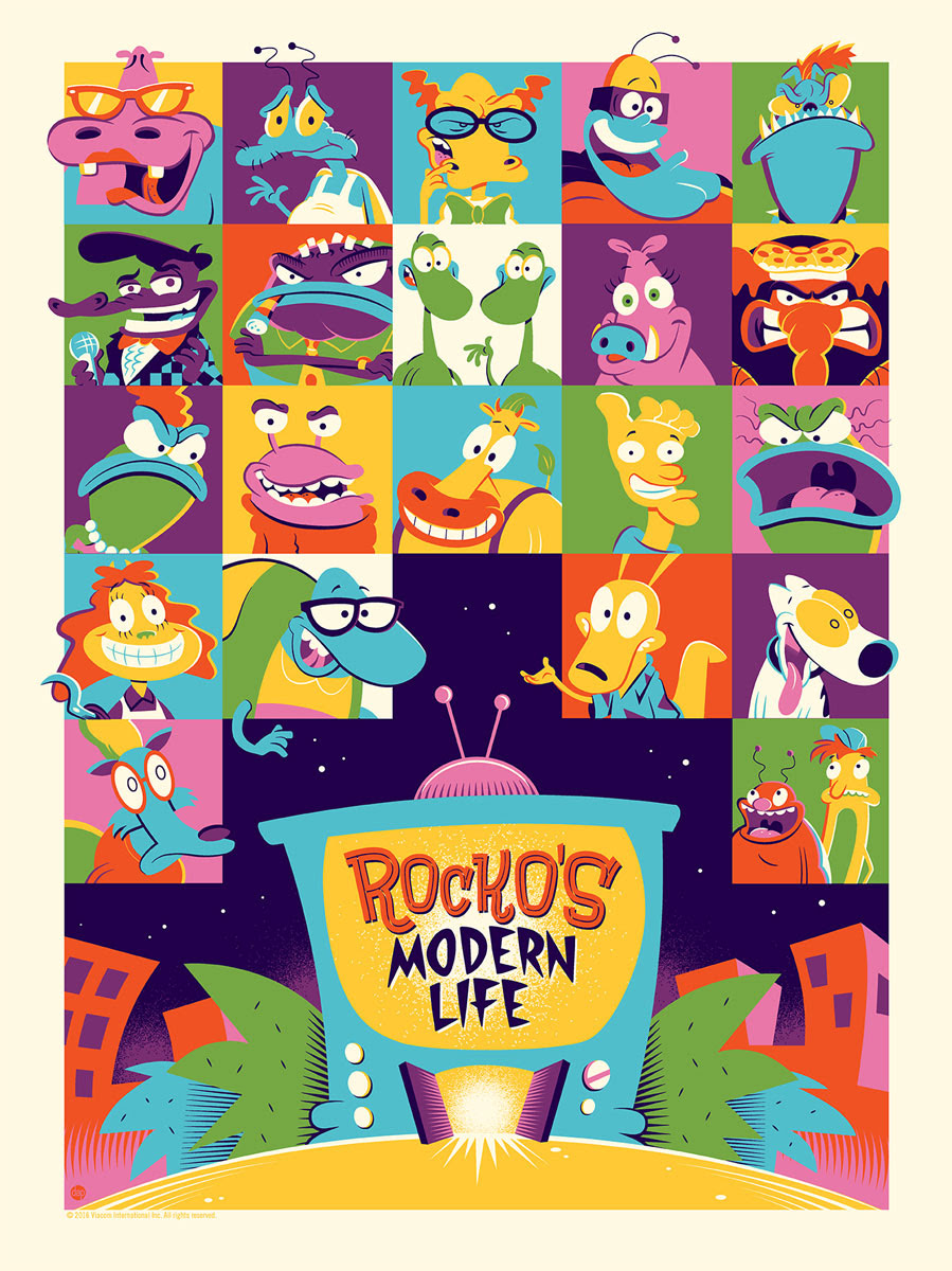 "Rocko's Modern Life by Dave Perillo. 18""x24"" screen print. Hand numbered. Edition of 150. Printed by D&L Screenprinting. $40"