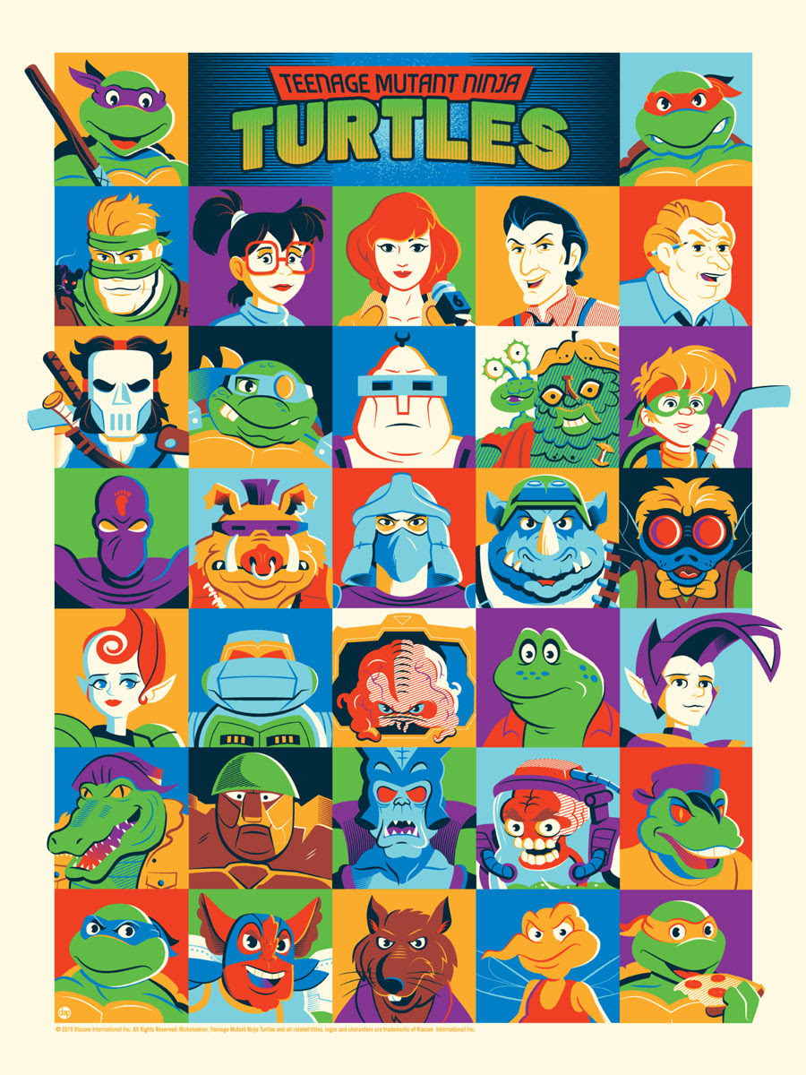 "Teenage Mutant Ninja Turtles by Dave Perillo. 18""x24"" screen print. Hand numbered. Edition of 225. Printed by D&L Screenprinting. $40"