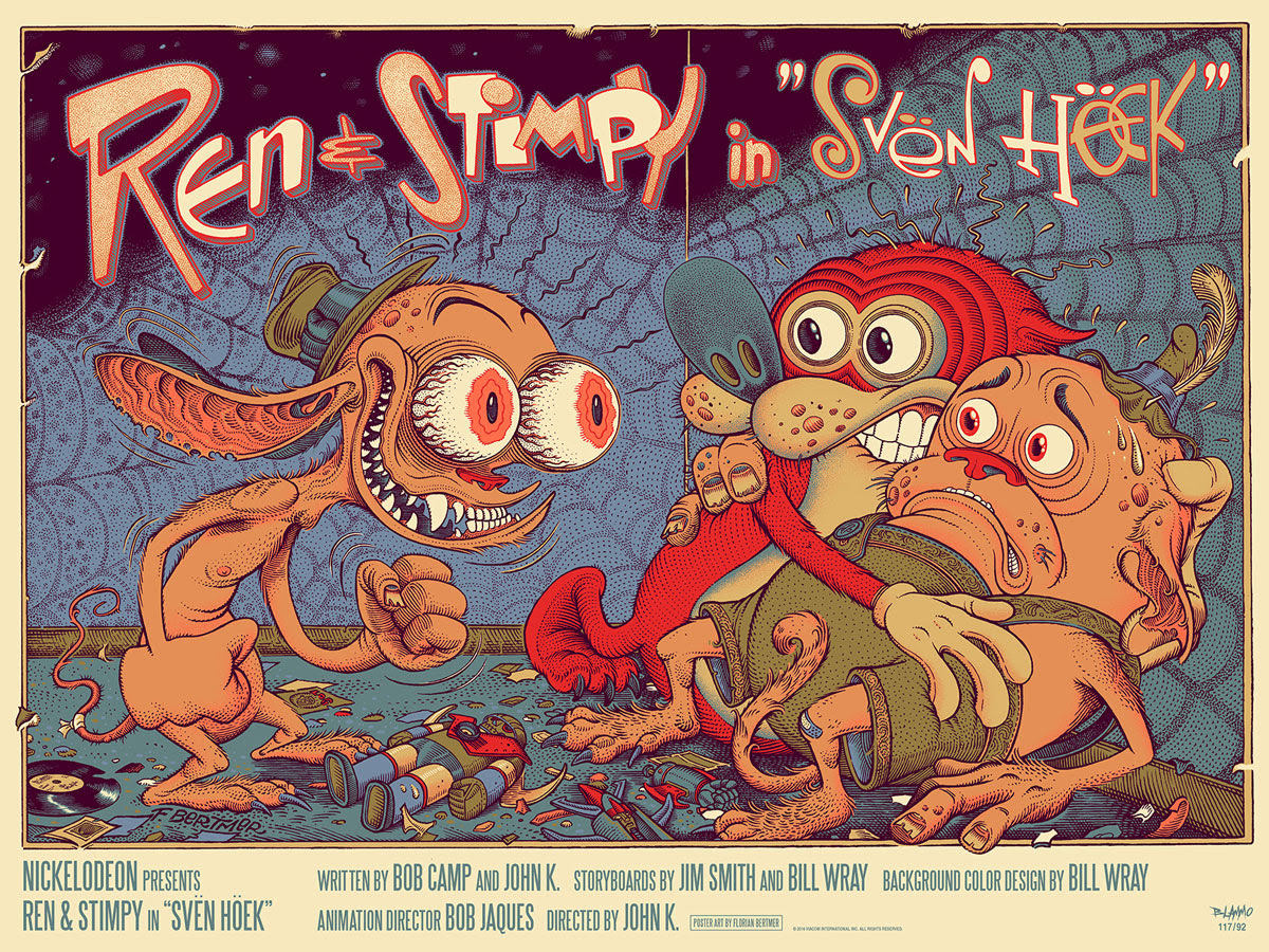 "The Ren and Stimpy Show in ""Svën Höek"" by Florian Bertmer. 24""x18"" screen print. Hand numbered. Edition of 225. Printed by D&L Screenprinting. $45"