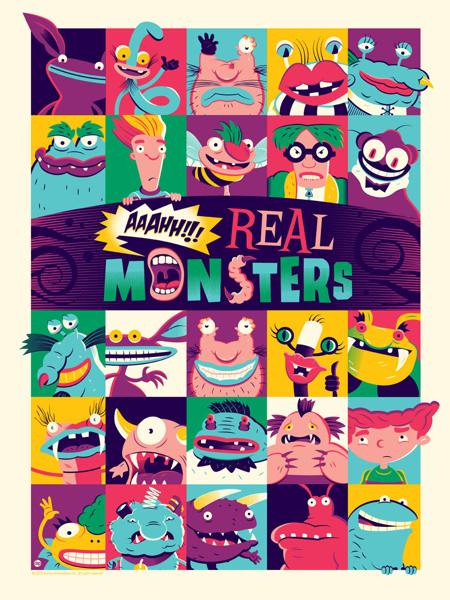 "Aaahh!!! Real Monsters by Dave Perillo. 18""x24"" screen print. Hand numbered. Edition of 175. Printed by D&L Screenprinting. $40"