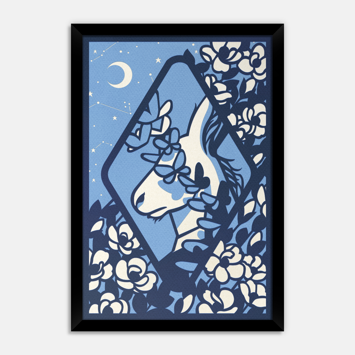 """Midsummer Night's Dream"" by Kevin J. Stanton.  48x33cm Laser-cut coloured card and tracing paper (4 layers) Framed.  Ed of 10.  £65 ($80)"