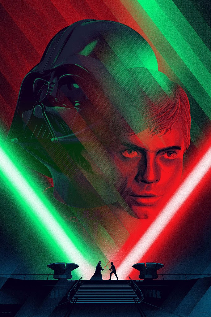 "Death Star II Duel by Kevin Tong. 24""x36"" screen print. Hand numbered. Edition of 275. Printed by D&L Screenprinting. $60"
