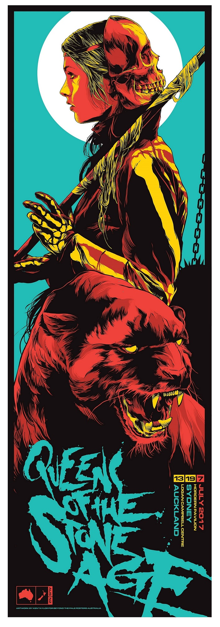 queens of the stone age oz nz tour 2017 by ken taylor 12 x 36 6 color screenprint ed of 295 s n 65 red