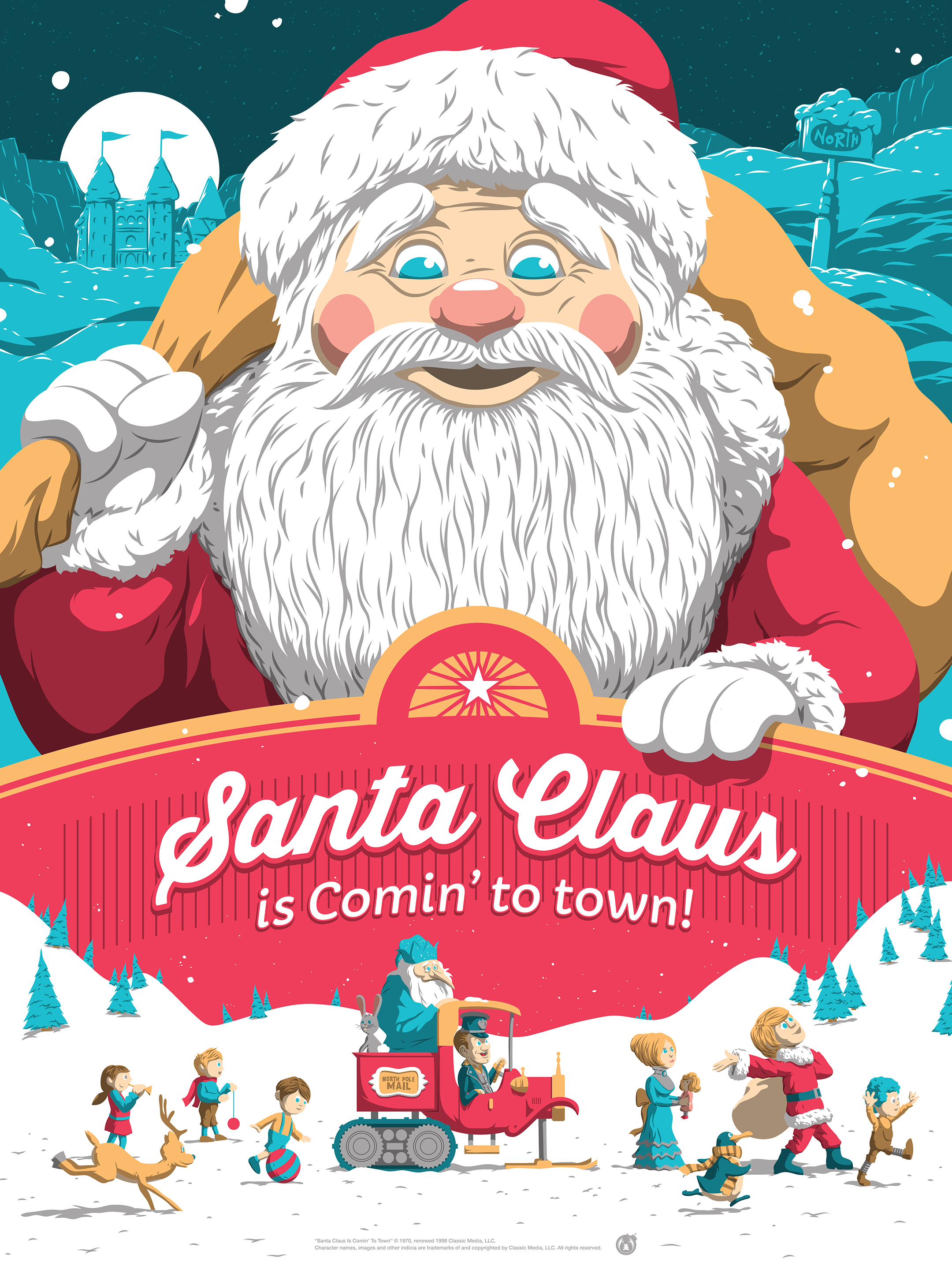 Santa claus is comin to town by florey 411posters santa claus is comin to town by florey 18 x 24 7 color screenprint ed of 150 55 jeuxipadfo Choice Image